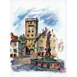 Carte postale - Fontaine et Tour des Bouchers (couleur)