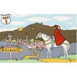 Carte postale - Roi des ménétriers à cheval devant Ribeauvillé - 1984